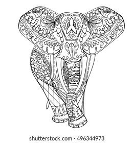 Zentangle stylized cartoon Elephant, isolated on white background. Hand drawn vector sketch for adult antistress coloring page, T-shirt emblem, logo or tattoo with doodle, zentangle design elements.