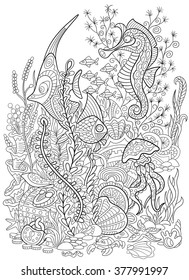 Zentangle stylized cartoon fish, seahorse, jellyfish, crab, shellfish and starfish  isolated on white background. Hand drawn sketch for adult antistress coloring page.