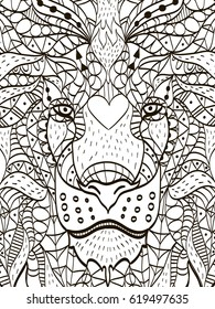 Zentangle stylized cartoon head of a lion. Hand drawn sketch for adult antistress coloring page, T-shirt emblem, logo or tattoo with doodle, zentangle, floral design elements tiger, cat.