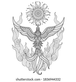 Zentangle stylized cartoon isolated on white background.  Hand drawn sketch illustration for adult coloring book.