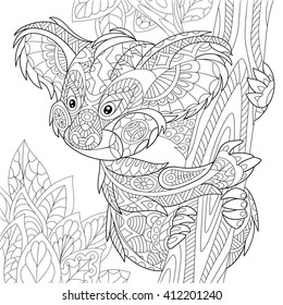 Zentangle stylized cartoon koala bear sitting among tree leaves. Hand drawn sketch for adult antistress coloring page, T-shirt emblem, logo or tattoo with doodle, zentangle, floral design elements.