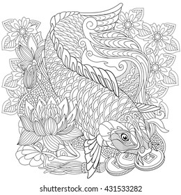 Adult Coloring Pages Fish Images Stock Photos Vectors