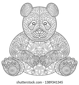 Zentangle stylized cartoon panda, isolated on white background. Sketch for adult antistress coloring page. Hand drawn doodle, zentangle, floral design elements for coloring book.