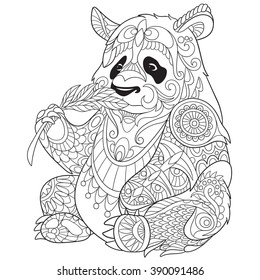 0057a202295ae Zentangle stylized cartoon panda, isolated on white background. Sketch for  adult antistress coloring page