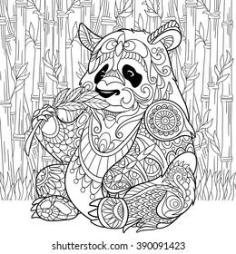 Zentangle stylized cartoon panda sitting among bamboo stems. Sketch for adult antistress coloring page. Hand drawn doodle, zentangle, floral design elements for coloring book.