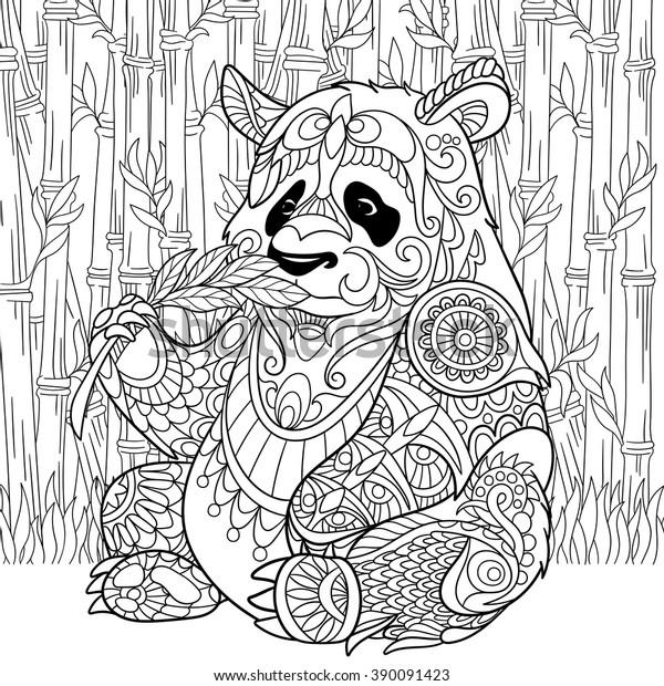 Zentangle Stilize Karikatur Panda Bambu Arasinda Stok Vektor