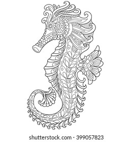 Zentangle stylized cartoon seahorse, isolated on white background. Hand drawn sketch for adult antistress coloring page, T-shirt emblem, logo or tattoo with doodle, zentangle, floral design elements.