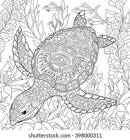 Zentangle stylized cartoon turtle swimming among sea algae. Hand drawn sketch for adult antistress coloring page, T-shirt emblem, logo or tattoo with doodle, zentangle, floral design elements.