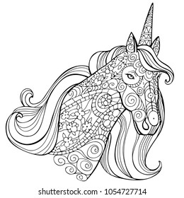 Zentangle Stylized Cartoon Unicorn Isolated On White Background Perfect For Adult Antistress Coloring Page