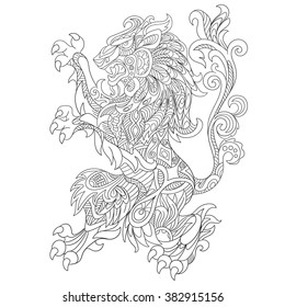 Zentangle stylized cartoon wild angry lion, isolated on white background. Sketch for adult antistress coloring page. Hand drawn doodle, zentangle, floral design elements for coloring book.