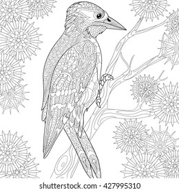 Zentangle stylized cartoon woodpecker on tree branch among snowflakes. Hand drawn sketch for adult antistress coloring page, T-shirt emblem, logo, tattoo with doodle, zentangle, floral design elements