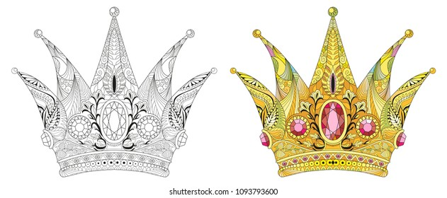 Zentangle stylized crown. Hand Drawn lace vector illustration