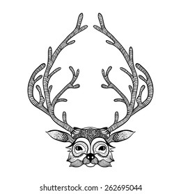 Zentangle stylized deer face. Hand Drawn tribal totem for adult anti stress coloring pages, vector illustration. Sketch for tattoo or makhenda. Animal collection.