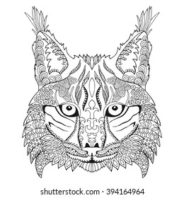Zentangle stylized doodle vector drawing of a lynx head made in zen art style. Illustration isolated on white. Suits as tattoo or logo template, decorative element or coloring book sketch.