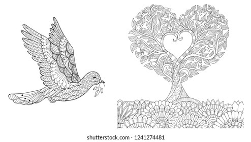 Zentangle stylized of dove with olive branch and tree bend into hearted shape for design element and coloring book,coloring page for anti stress.Vector illustration