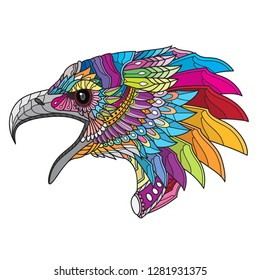 Zentangle Stylized eagle head. vector illustration