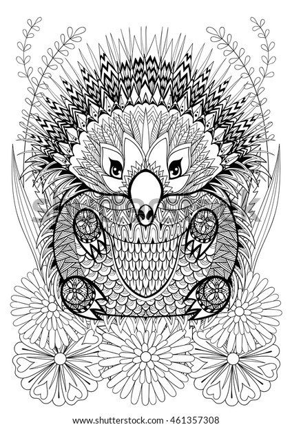 Zentangle stylized Echidna with flowers. Hand drawn ethnic animal for adult coloring pages, art therapy, boho t-shirt patterned print, posters, t-shirt. Vector isolated illustration. A4 size