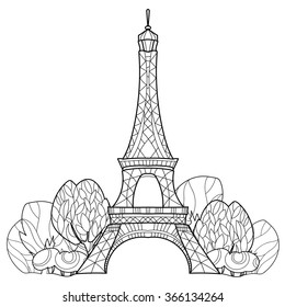 Eiffel Tower Coloring Page Stock Illustrations, Images & Vectors ...