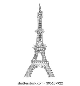 Zentangle stylized Eiffel tower Hand Drawn vector illustration. Sketch for tattoo or makhenda. France collection.Boho style
