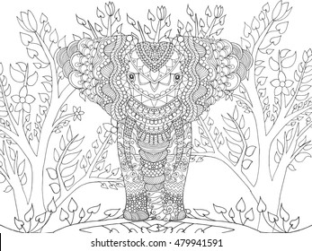 Zentangle stylized elephant in fantasy garden. Animals. Hand drawn doodle. Ethnic patterned illustration. African, indian, totem tatoo design. Sketch for avatar, tattoo, poster, print or t-shirt.