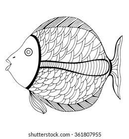 Zentangle stylized Fish. Hand Drawn doodle vector illustration isolated on white background. Sketch for tattoo or makhenda. Sea food collection.