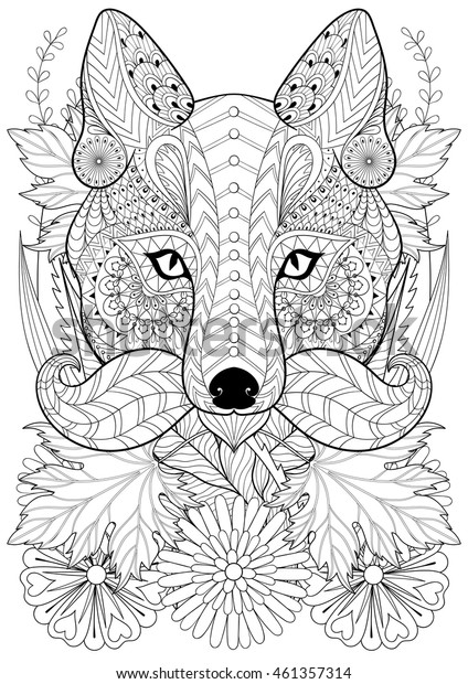 Zentangle stylized fox with moustache on flowers. Hand drawn ethnic animal for adult coloring pages, art therapy, boho t-shirt patterned print, posters, t-shirt. Vector isolated illustration. A4 size.