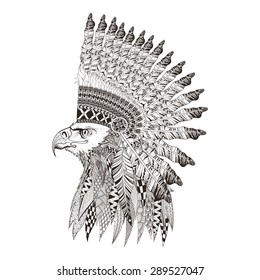 Zentangle stylized head of eagle in feathered war bonnet. Hand Drawn vector illustration isolated on white background. Sketch for tattoo or indian makhenda, postcard, t-shirt, fabric bag or poster.