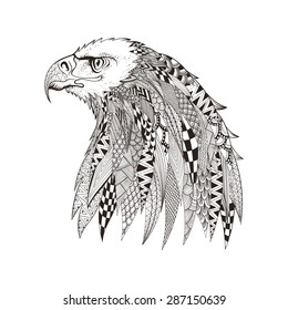 Zentangle stylized head of eagle. Hand Drawn doodle vector illustration isolated on white background. Sketch for tattoo or indian makhenda design. Can be used for postcard, t-shirt, bag or poster.