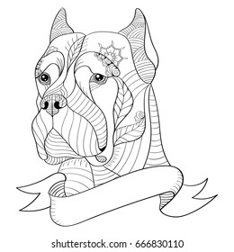 Zentangle stylized head of italian mastiff cane corso. Vector, illustration, freehand pencil, pattern. Zen art. Black and white illustration on white background. Adult anti-stress coloring book.