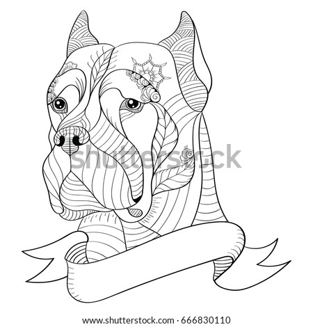 Zentangle Stylized Head Italian Mastiff Cane Stock Vector Royalty