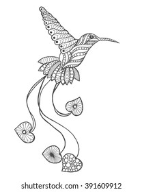 Zentangle stylized hummingbird. Animals. Black white hand drawn doodle. Ethnic patterned vector illustration. African, indian, totem tatoo design. Sketch for avatar, tattoo, poster, print or t-shirt.