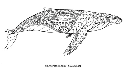 Zentangle stylized humpback whale. Vector, illustration, freehand pencil, pattern. Zen art. Black and white illustration on white background. Adult anti-stress coloring book. Print for t-shirts.