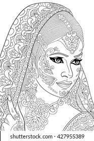 Zentangle Stylized Indian Woman Isolated On White Background Hand Drawn Sketch For Adult Anti