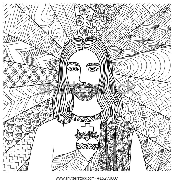Zentangle Stylized Jesus Christ Coloring Book Stock ...
