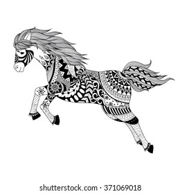 Zentangle stylized jumping horse for tattoo, T shirt design, logo, coloring book and so on