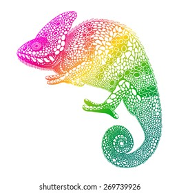 f898ad58a Zentangle stylized multi coloured Chameleon. Hand Drawn Reptile vector  illustration in doodle style. Sketch