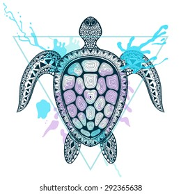 Zentangle stylized Ocean Turtle in triangle frame with watercolor ink drop. Hand Drawn doodle vector illustration. Sketch for tattoo, postcard, t-shirt, fabric bag, poster. Sea animal collection.
