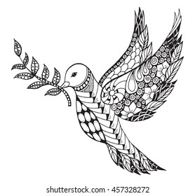 Zentangle stylized peace dove with olive branch for International Peace Day. Ornate vector illustration. Freehand pencil.
