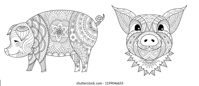 Zentangle stylized of pig baby collection the Chinese sign of year 2019 for coloring book page, printed tee and so on. Vector illustration