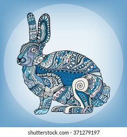 Zentangle stylized rabbit. Hand Drawn vintage doodle vector illustration for Easter. Sketch for tattoo, animal collection. Black, blue and white