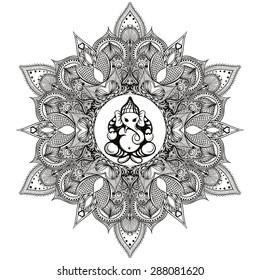 Zentangle stylized Round Indian Mandala, Rangoli with Hindu Elephant God Ganesha.  Hand drawn vintage Ornament Pattern .