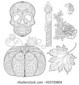 Zentangle stylized Skull, candle, rose, oak acorn, pumpkin, autumn leaves set, artistically doodle elements. Ethnic ornamental vector illustration for tattoo, t-shirt or prints, adult coloring book