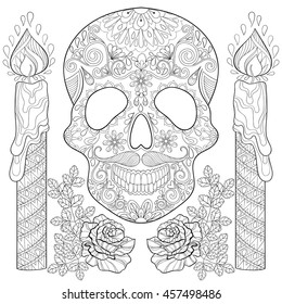 Zentangle stylized Skull with candles, roses for Halloween. Freehand sketch for adult coloring page, book with artistically doodle elements. Ornamental vector illustration for tattoo, t-shirt or print