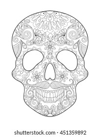 Zentangle stylized Skull for Halloween. Freehand sketch for adult anti stress coloring page and book with doodle elements. Ethnic ornamental patterned vector illustration for tattoo, t-shirt or prints