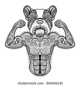Zentangle stylized strong French Bulldog like bodybuilder. Hand Drawn sport vector illustration isolated on white background. Vintage sketch for tattoo design or makhenda. Animal art collection.