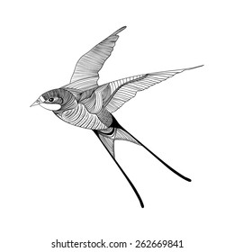 Zentangle stylized swallow. Hand Drawn vector illustration. Sketch for tattoo or makhenda. Bird collection.