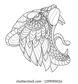 Zentangle stylized tiger angry head - vector