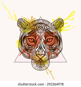Zentangle stylized Tiger face in triangle frame with watercolor ink drop. Hand Drawn doodle vector illustration. Sketch for tattoo, postcard, t-shirt, fabric bag, poster. Animal collection.