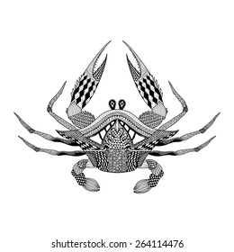 Zentangle stylized tribal  King Krab. Hand Drawn totem, boho vintage engraved vector illustration for adult coloring pages. Sketch hypnotic look for tattoo or makhenda. Sea food collection.