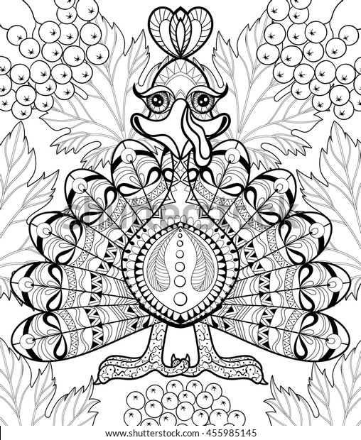 Zentangle Stylized Turkey Autumn Leaves Thanksgiving Stock Vector